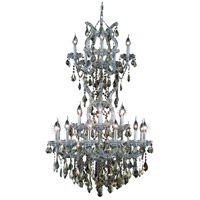 Maria Theresa 25 Light 30 inch Silver and Clear Mirror Dining Chandelier Ceiling Light in Golden Teak, Swarovski Strass