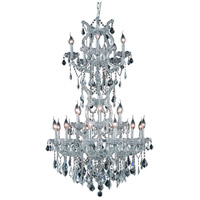 Elegant Lighting Maria Theresa 25 Light Dining Chandelier in Silver and Clear Mirror with Royal Cut Clear Crystal 2800D30SC/RC