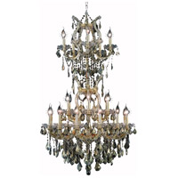 Elegant Lighting Maria Theresa 25 Light Dining Chandelier in Gold with Swarovski Strass Golden Teak Crystal 2800D30SG-GT/SS