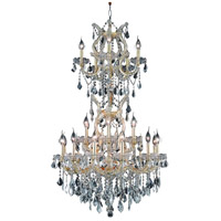 Elegant Lighting Maria Theresa 25 Light Dining Chandelier in Gold with Royal Cut Clear Crystal 2800D30SG/RC