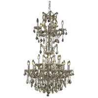 Elegant Lighting Maria Theresa 25 Light Dining Chandelier in Golden Teak with Royal Cut Golden Teak Crystal 2800D30SGT-GT/RC