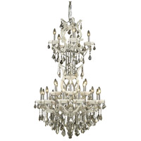 Elegant Lighting Maria Theresa 25 Light Dining Chandelier in White with Royal Cut Golden Teak Crystal 2800D30SWH-GT/RC