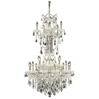 Elegant Lighting Maria Theresa 25 Light Dining Chandelier in White with Elegant Cut Clear Crystal 2800D30SWH/EC