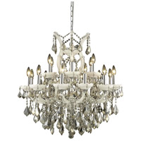 Elegant Lighting Maria Theresa 19 Light Dining Chandelier in White with Royal Cut Golden Teak Crystal 2800D30WH-GT/RC