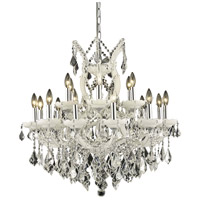 Elegant Lighting Maria Theresa 19 Light Dining Chandelier in White with Royal Cut Clear Crystal 2800D30WH/RC