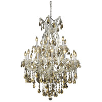 Elegant Lighting Maria Theresa 19 Light Dining Chandelier in Chrome with Royal Cut Golden Teak Crystal 2800D32C-GT/RC