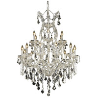 Elegant Lighting Maria Theresa 19 Light Dining Chandelier in Chrome with Royal Cut Clear Crystal 2800D32C/RC