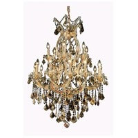 Elegant Lighting Maria Theresa 19 Light Dining Chandelier in Gold with Swarovski Strass Golden Teak Crystal 2800D32G-GT/SS alternative photo thumbnail