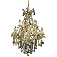 Elegant Lighting Maria Theresa 19 Light Dining Chandelier in Gold with Swarovski Strass Golden Teak Crystal 2800D32G-GT/SS