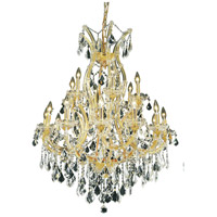 Elegant Lighting Maria Theresa 19 Light Dining Chandelier in Gold with Royal Cut Clear Crystal 2800D32G/RC