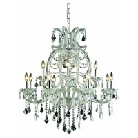Elegant Lighting Maria Theresa 12 Light Dining Chandelier in Chrome with Royal Cut Clear Crystal 2800D33C/RC