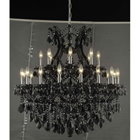 Elegant Lighting Maria Theresa 24 Light Dining Chandelier in Black with Swarovski Strass Clear Crystal 2800D36B/SS
