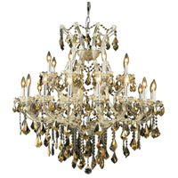 Elegant Lighting Maria Theresa 24 Light Dining Chandelier in Chrome with Royal Cut Golden Teak Crystal 2800D36C-GT/RC