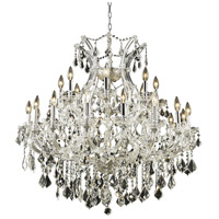 Elegant Lighting Maria Theresa 24 Light Dining Chandelier in Chrome with Elegant Cut Clear Crystal 2800D36C/EC