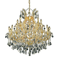 Elegant Lighting Maria Theresa 24 Light Dining Chandelier in Gold with Swarovski Strass Clear Crystal 2800D36G/SS alternative photo thumbnail