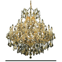 Elegant Lighting 2800D36G-GT/SS Maria Theresa 24 Light 36 inch Gold Dining Chandelier Ceiling Light in Golden Teak Swarovski Strass