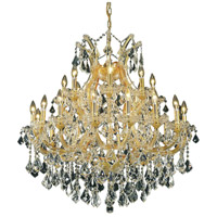 Elegant Lighting Maria Theresa 24 Light Dining Chandelier in Gold with Royal Cut Clear Crystal 2800D36G/RC