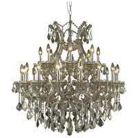 Elegant Lighting Maria Theresa 24 Light Dining Chandelier in Golden Teak with Royal Cut Golden Teak Crystal 2800D36GT-GT/RC