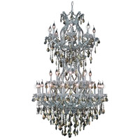 Maria Theresa 34 Light 36 inch Silver and Clear Mirror Foyer Ceiling Light in Golden Teak, Swarovski Strass