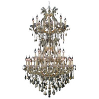 Elegant Lighting Maria Theresa 34 Light Foyer in Gold with Swarovski Strass Golden Teak Crystal 2800D36SG-GT/SS