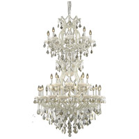 Elegant Lighting Maria Theresa 34 Light Foyer in White with Royal Cut Golden Teak Crystal 2800D36SWH-GT/RC