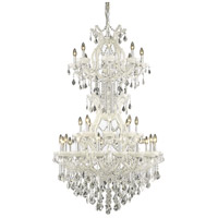 Elegant Lighting Maria Theresa 34 Light Foyer in White with Royal Cut Clear Crystal 2800D36SWH/RC