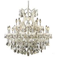 Elegant Lighting Maria Theresa 25 Light Dining Chandelier in White with Royal Cut Golden Teak Crystal 2800D36WH-GT/RC