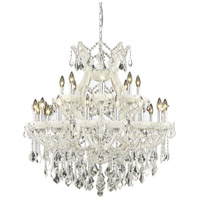 Elegant Lighting Maria Theresa 25 Light Dining Chandelier in White with Royal Cut Clear Crystal 2800D36WH/RC
