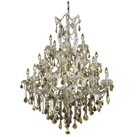 Elegant Lighting Maria Theresa 28 Light Foyer in Chrome with Royal Cut Golden Teak Crystal 2800D38C-GT/RC