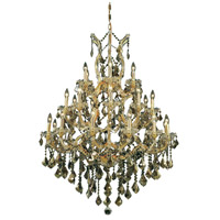 Elegant Lighting Maria Theresa 28 Light Foyer in Gold with Royal Cut Golden Teak Crystal 2800D38G-GT/RC