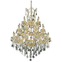 Elegant Lighting Maria Theresa 28 Light Foyer in Gold with Elegant Cut Clear Crystal 2800D38G/EC