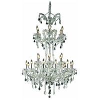 Elegant Lighting 2800G32C/EC Maria Theresa 24 Light 32 inch Chrome Foyer Ceiling Light in Clear, Elegant Cut