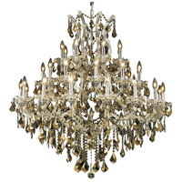 Maria Theresa 37 Light 44 inch Chrome Foyer Ceiling Light in Golden Teak, Swarovski Strass