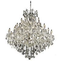Elegant Lighting 2800G44C/RC Maria Theresa 37 Light 44 inch Chrome Foyer Ceiling Light in Clear, Royal Cut