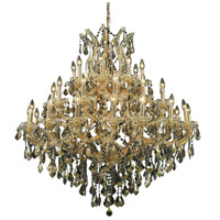 Elegant Lighting Maria Theresa 37 Light Foyer in Gold with Royal Cut Golden Teak Crystal 2800G44G-GT/RC