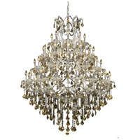 Elegant Lighting Maria Theresa 49 Light Foyer in Chrome with Royal Cut Golden Teak Crystal 2800G46C-GT/RC