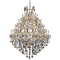 Elegant Lighting Maria Theresa 49 Light Foyer in Gold with Royal Cut Golden Teak Crystal 2800G46G-GT/RC