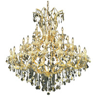 Elegant Lighting Maria Theresa 41 Light Foyer in Gold with Royal Cut Golden Teak Crystal 2800G52G-GT/RC