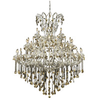 Maria Theresa 49 Light 60 inch Chrome Foyer Ceiling Light in Golden Teak, Swarovski Strass