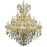 Maria Theresa 49 Light 60 inch Gold Foyer Ceiling Light in Golden Teak, Swarovski Strass