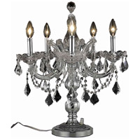 Elegant Lighting Maria Theresa 5 Light Table Lamp in Chrome with Spectra Swarovski Clear Crystal 2800TL19C/SA