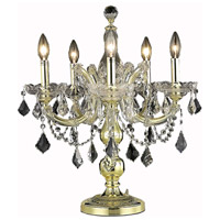 Elegant Lighting Maria Theresa 5 Light Table Lamp in Gold with Swarovski Strass Clear Crystal 2800TL19G/SS
