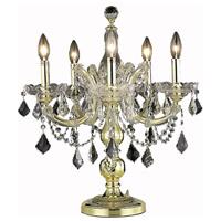 Elegant Lighting Maria Theresa 5 Light Table Lamp in Gold with Elegant Cut Clear Crystal 2800TL19G/EC photo thumbnail