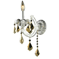Elegant Lighting Maria Theresa 1 Light Wall Sconce in Chrome with Royal Cut Golden Teak Crystal 2800W1C-GT/RC