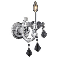 Elegant Lighting Maria Theresa 1 Light Wall Sconce in Chrome with Royal Cut Clear Crystal 2800W1C/RC photo thumbnail