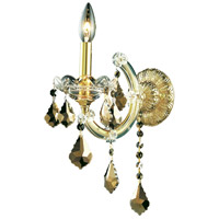 Elegant Lighting Maria Theresa 1 Light Wall Sconce in Gold with Royal Cut Golden Teak Crystal 2800W1G-GT/RC