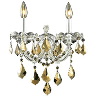 Elegant Lighting Maria Theresa 2 Light Wall Sconce in Chrome with Royal Cut Golden Teak Crystal 2800W2C-GT/RC