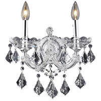 Elegant Lighting Maria Theresa 2 Light Wall Sconce in Chrome with Royal Cut Clear Crystal 2800W2C/RC