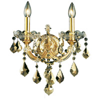 Elegant Lighting Maria Theresa 2 Light Wall Sconce in Gold with Royal Cut Golden Teak Crystal 2800W2G-GT/RC