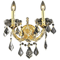 Elegant Lighting Maria Theresa 2 Light Wall Sconce in Gold with Royal Cut Clear Crystal 2800W2G/RC